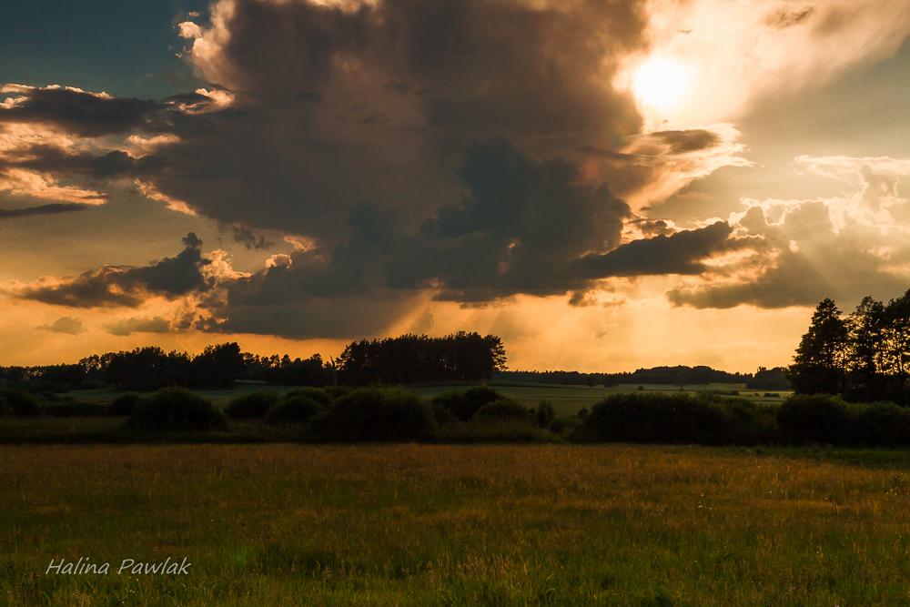 zachód słońca, łąka